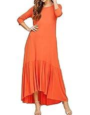 فستان نسائي طويل طويل من DressU بتصميم مكشكش بلون نقي