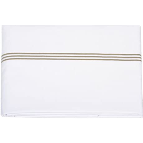 Cloud Nine For Kathryn Ireland Sutton Italian Sateen King Flat Sheet White With Olive Satin Stitch