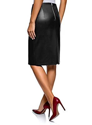 oodji Collection Women's Faux Leather Pencil Skirt