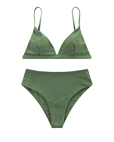 MOSHENGQI Women Cheeky Bikini Sets Padded Brazilian Top High Cut Bottom 2 Piece Swimsuits (Small, Army - Cheeky Set