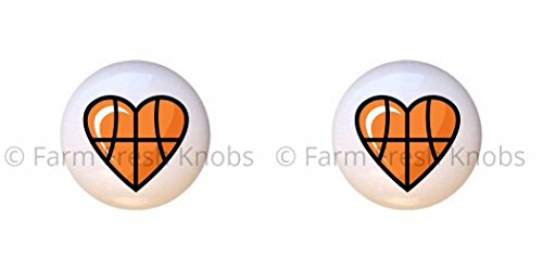 SET OF 2 KNOBS - Heart-shaped Basketball - Sports and Recreation - DECORATIVE Glossy CERAMIC Cupboard Cabinet PULLS Dresser Drawer (Basketball Switchplate)