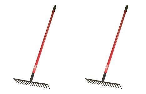 Bully Tools 92311 16-Inch Level Head Rake with Fiber Glass Handle and 14 Steel Head Tines