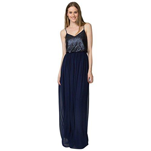 Paige V-cou Style Robe De Demoiselle D'honneur En Mousseline De Sequins W2444mdb Minuit