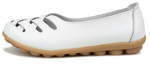 Joansam Womens Ladies Casual Cut Out Leather Loafers Flat Shoes Moccasin Sandals White UnDM5