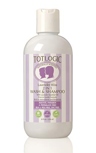 TotLogic Kids Natural 2 in 1 Body Wash and Shampoo, 8 oz | Plant Based Formula Gentle and Hypoallergenic for Sensitive Skin | Infused with Lavender Essential Oils