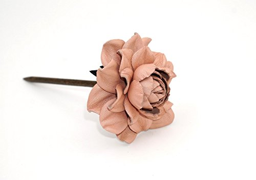 "Yak Lialia Genuine Leather Flower 2.5"" Nude Pink Rose Wooden Hair Stick 7.5"""