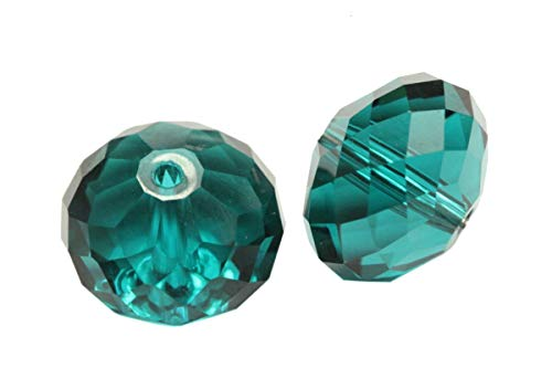 - 50 10mm Adabele Austrian Rondelle Crystal Beads Emerald Green Rondelle Spacer Compatible with 5040 Swarovski Crystals Preciosa SS1R-1024