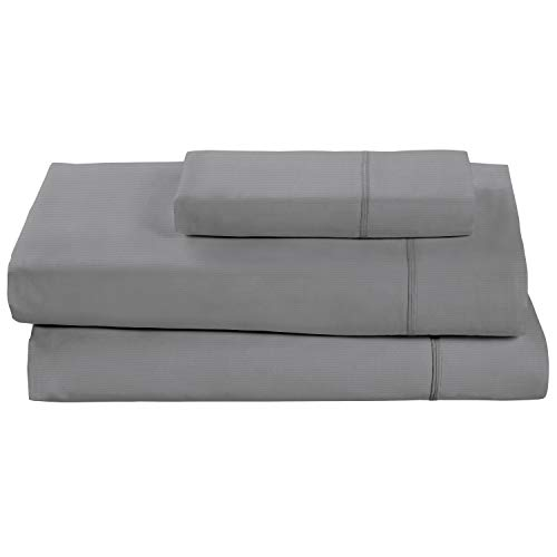 Rivet Soft 100% Percale Cotton Sheet Set, Easy Care, Twin, Pewter
