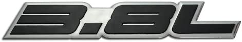 3.8L Liter Embossed BLACK on Highly Polished Silver Real Aluminum Auto Emblem Badge Nameplate for Buick Regal LeSabre Century Riviera Lacrosse Chevy Chevrolet Monte Carlo Pontiac Trans Am Turbo Ford Granada F-Series F150 F-150 Thunderbird Mustang LTD Tauru