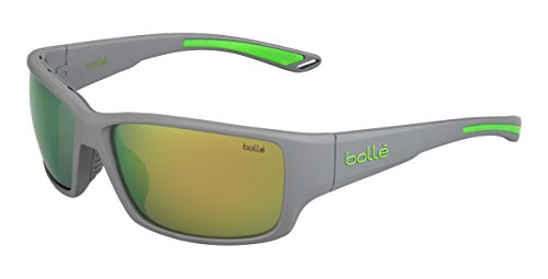 - Bolle Kayman Matte Grey Green 12371 Sunglasses Polarized Brown Emerald Lens M