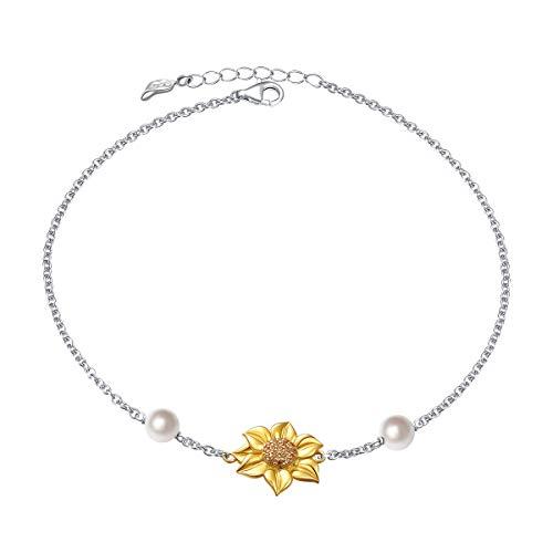 - Sunflower Gold Plated S925 Sterling Silver Foot Ankle Bracelet Anklet (Anklet)