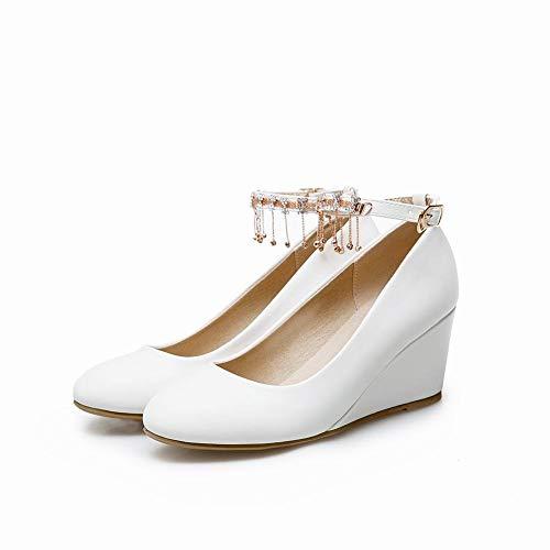 fd61b317 Cerrada Borlas Tacón Blanco Con Calzado Adornada Mujer Coolulu Zapatos  Vestir Salon De Hebilla Tira Comodo ...