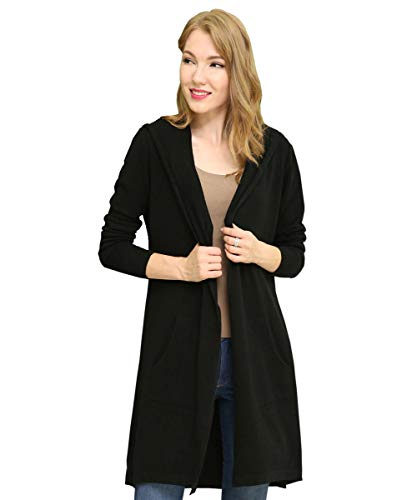 BIMOZI Women Hooded Cardigan Sweater Drape Open Front Asym with Pockets Black XL