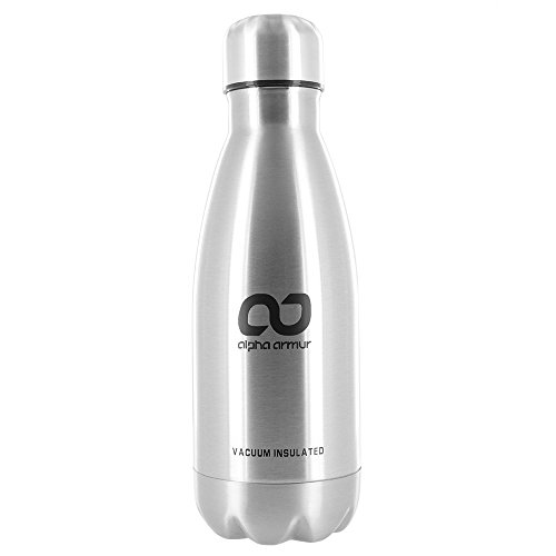 Alpha Armur 12 Oz (350ml) Double Wall Vacuum Insulated Stainless Steel Flask Water Bottle with Narrow Mouth, Silver