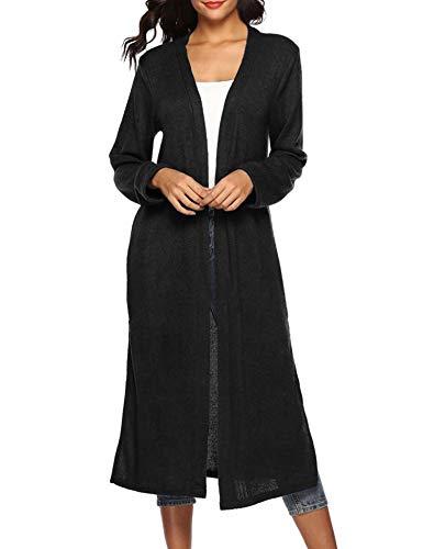 Blaward Womens Long Open Front Drape Lightweight Duster Split Maxi Long Sleeve Cardigan Sweater