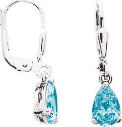 So Chic Bijoux © Boucles d'oreilles Femme Dormeuses Goutte Topaze Bleu 7 mm Or Blanc 750/000 (18 carats)
