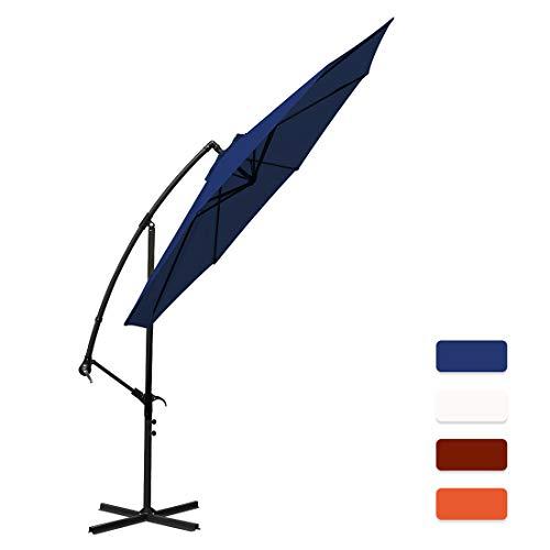 MASVIS Offset Umbrella 10 Ft Cantilever Patio Umbrella Outdoor Market Umbrellas Crank with Cross Base, 8 Ribs (10FT, Navy Blue)