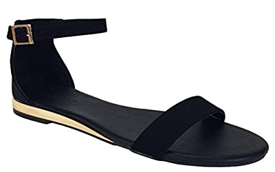 BAMBOO Women's Single Band Ultra Low Wedge Sandal with Ankle Strap