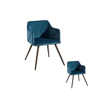 Tousmesmeubles Duo de sillones Terciopelo Azul - Mujer - L ...