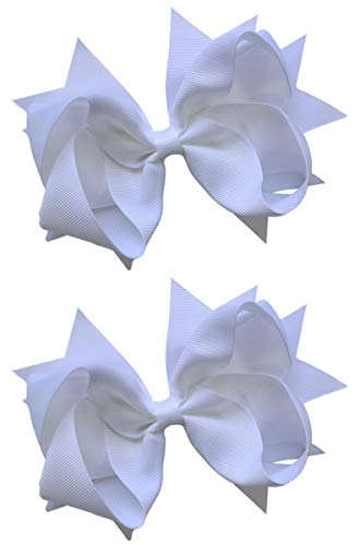 (Hair Bow Set for Girls (2) 4.5 Inch Grosgrain Ribbon Hair Bows by Funny Girl Designs (Bright White))