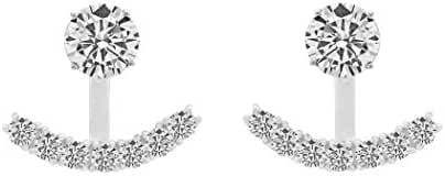 Sterling Silver Front Back 2 in 1 Cubic Zirconia AAA Quality Stud and Ear Jacket Cuff Earrings Set