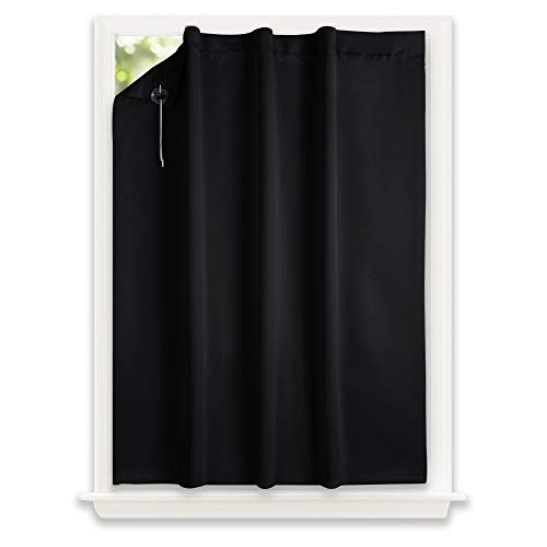 NICETOWN Blackout Curtain Temporary Blinds – Versatile Anywhere Portable Lightweight Drape with Suction Cups for Door(1 Piece,51 inches Wide by 78 inches Long, Black)