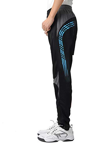 ORANSSI Men's Athletic Pants Soccer Training Active Pants Casual Gym Fitness Trousers,Black Blue,28-30inch/Tag size 2XL (Athletic Mens Pants Active)