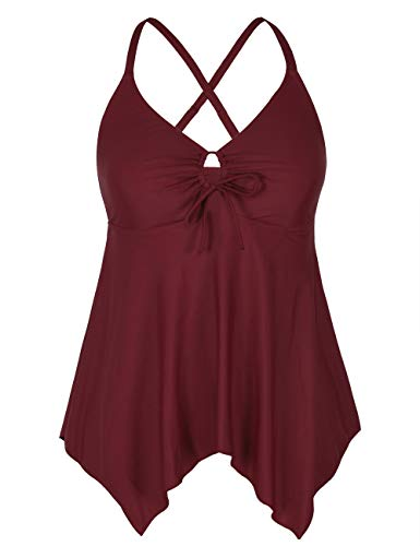 Firpearl Women's Flowy Swimsuit Tops Crossback Plus Size Tankini Top US16 Burgundy (Womens Tankini Bathing Suits)