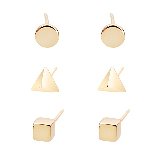 Earrings Square Rounded - Lureme Brass 3 Pairs Stud Earrings Set for Women Girls Cube Pyramid Circle(Square Triangular Round)(02004563) (Gold Tone)