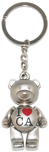 State of California Iconic Bear Souvenir Keychain Featuring I Heart CA