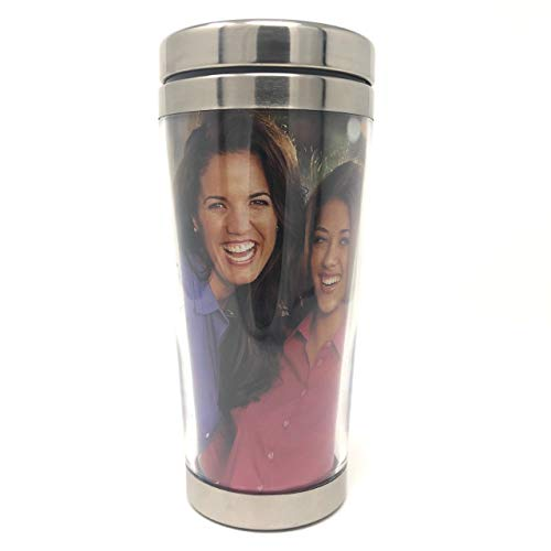 Engy DIY Photo Insert 16 oz Stainless Steel Tumbler, Coffee Cup, Travel Mug, Double Wall with Stainless Steel Lid