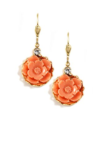 Clara Beau Swarovski Glass Crystal accented Goldtone Coral Color Resin Flower Earrings EC371 G-Coral Swarovski Crystal Crown Earring