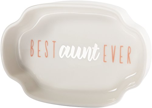 Pavilion - Best Aunt Ever - Pink & Silver - 4 Inch Mini Jewelry Dish with Gift Box