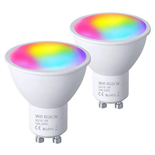 Vicloon GU10 Wi-Fi-lampen, 2 Stuks 5W GU10 LED Smart Lamp, Alexa Bulb RGB Veelkleurige GU10 Dimbaar, Compatibel met…