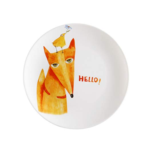 Circular Ceramic Plate Breakfast Steak Cake Noodle Cheese Salad Sushi White Cute Kids Plate and Cartoon Hello Fox Hand-painted Pattern Household the Surface Is Smooth and Easy To Clean Bracelet White Salad Plate