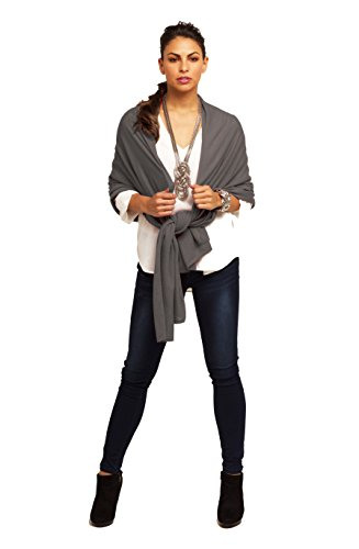 Super Soft Oversized 100% Cashmere Travel Blanket Scarf Wrap - Warm Charcoal by Anna Kristine
