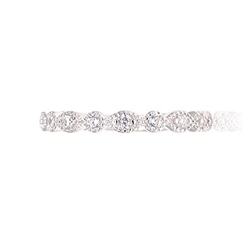 Marquise & Round Cubic Zirconia Eternity Band Stack Wedding Anniversary Ring Sterling Silver Size 7 (Antique Ring Band)