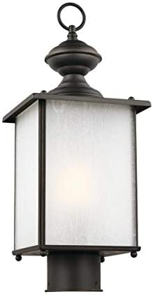 Sea Gull Lighting 82570EN3-71 Jamestowne Outdoor Wall Lantern Outside Fixture in Etched Glass, Small, Antique Bronze Finish