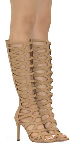 MVE Shoes Women's Cutout Back Zipper Stiletto Gladiator Sandals, Page NAT NBPU 11