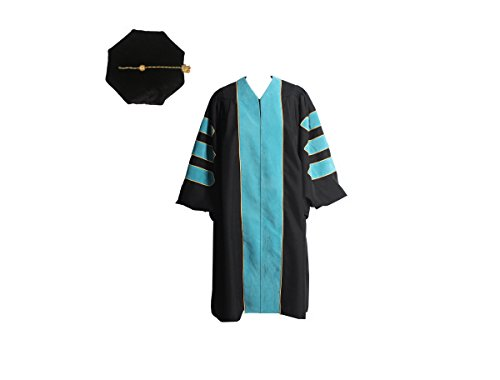 2' Wide Cuff - GraduationService Unisex Deluxe Doctoral Graduation Gown with Gold Piping and Bkack Doctoral Tam Package