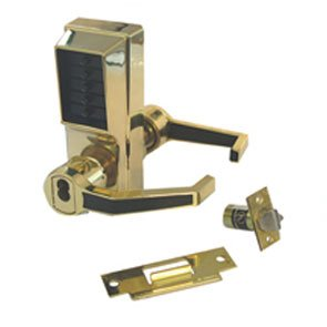 Simplex LR1021M-03-41 Right Hand Mechanical Push Button Lock With Yale or Medeco IC Prep Bright Brass Finish by Kaba Ilco