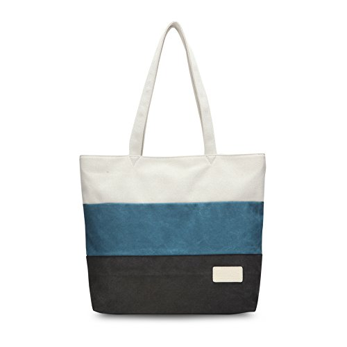 Trendy Canvas Tote Handbag Shoulder Bags for Women (Black) - 4