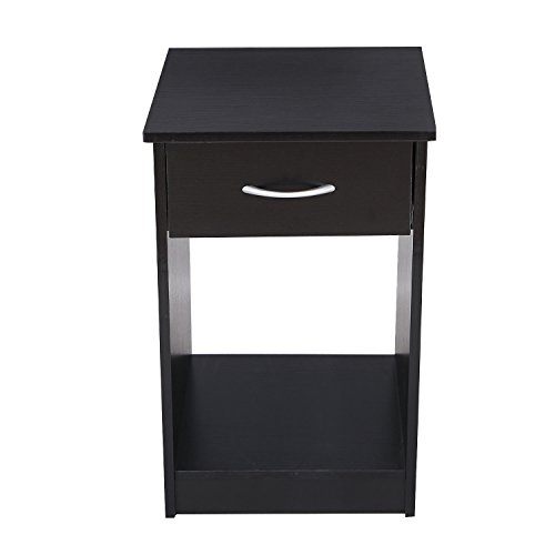 "Asense Height Wood Square Accent End Table with Drawer, Wooden Table, Nightstands, Living Room Bed Room (15.6"" W x 15.6"" D x 24.1"" H, Black)"