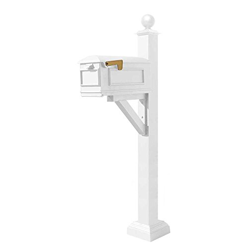 (Qualarc WPD-SC2-S4-LMC-WHT Westhaven Cast Aluminum Post Mount System with Lewiston Mailbox, Square Collar and Large Ball Finial, Ships in 2 Boxes, White)