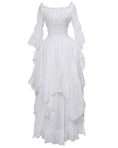 LY-VV Women Plus Size Off Shoulder Renaissance Medieval Dress Costume White -