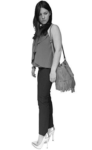 histoireDaccessoires - Bolso con Bandolera de Cuero de Mujer - SA000821GA-Valeria Topo