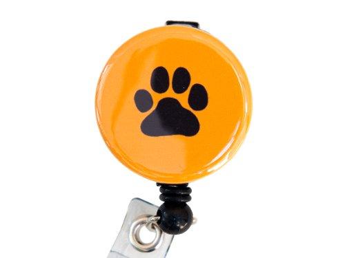 New Custom Dog Paw/ Animal Footprint Badge Reel Retractable ID Badge Holder (Black Orange)