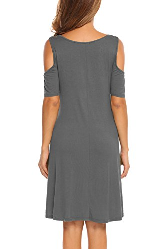 Tunic Women Cold Dress Top Shoulder Short BLUETIME Cross Casual Sleeve Criss Grey Neckline zOFwqw