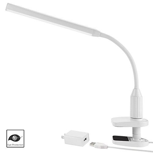 mmable Flexible Gooseneck Clamp Desk Lamp Eye-Care Touch Sensitive 5W Light, Memory Function, USB Charger + Power Adapter, 50000 hours Lifespan & 2 Years Warranty (White) (Gooseneck Desk Task Light)