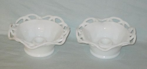 (Set of 2 - Vintage Imperial Milk Glass Crocheted Lace Edge Candle Stick Holders 6